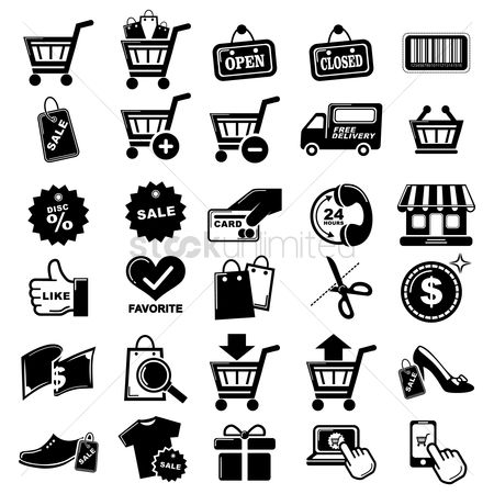Open : Set of online shopping icons