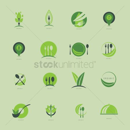 Fork : Set of organic food design icons