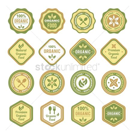 Customers : Set of organic food label icons