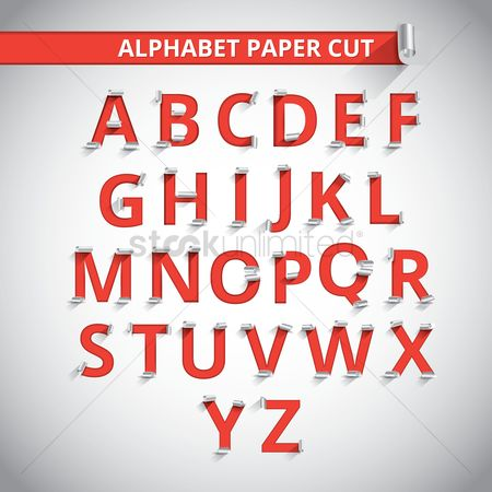 Fonts : Set of paper cut alphabets
