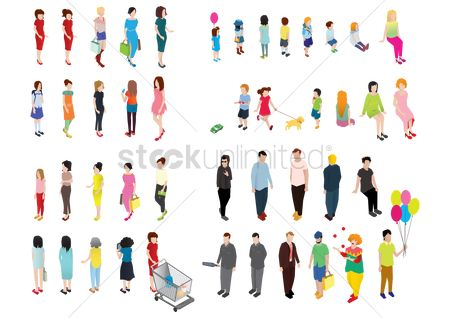 Shopping cart : Set of people icons