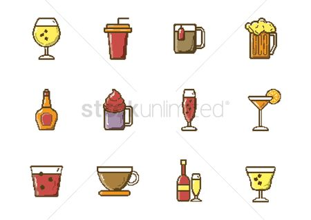 Pub : Set of pixel art beverage icons