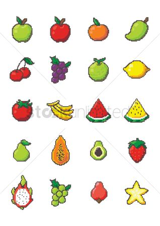 Mangoes : Set of pixel art fruit icons