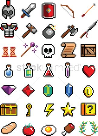 Shield : Set of pixel art gaming character icons