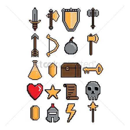 Hammers : Set of pixel art gaming icons