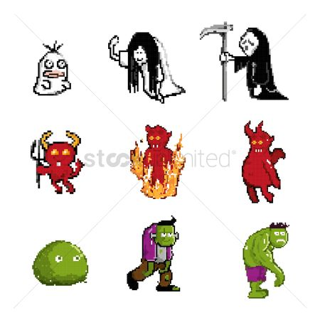 Devils : Set of pixel art halloween icons