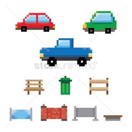 Car park : Set of pixel art vehicle and park icons