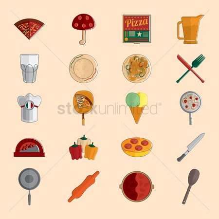 Jug : Set of pizza icons