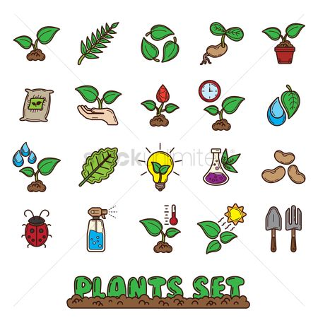 Temperatures : Set of plants icons