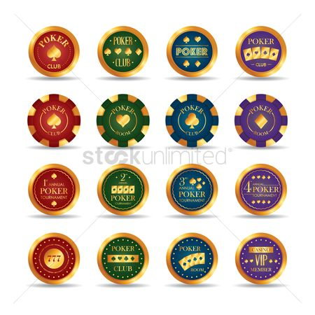 Poker chips : Set of poker club chips