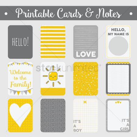 Decorations : Set of printable cards and notes