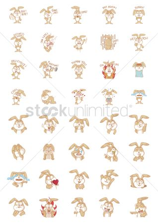 Gifts : Set of rabbit characters