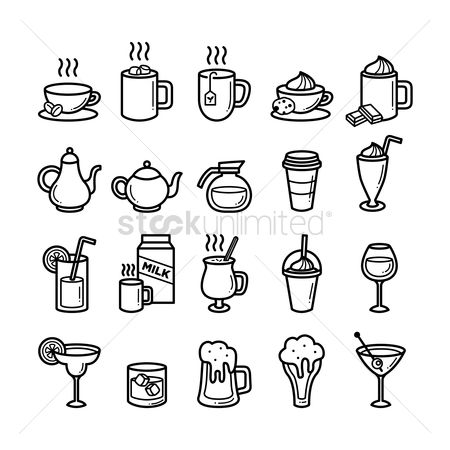 Coffee cups : Set of refreshment icons