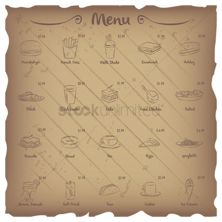 Cones : Set of restaurant menu