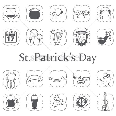 Smoking pipe : Set of saint patrick s day icons