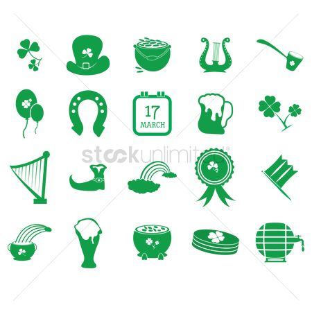 Smoking pipe : Set of saint patrick s icons