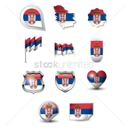 Tricolored : Set of serbia flag icons
