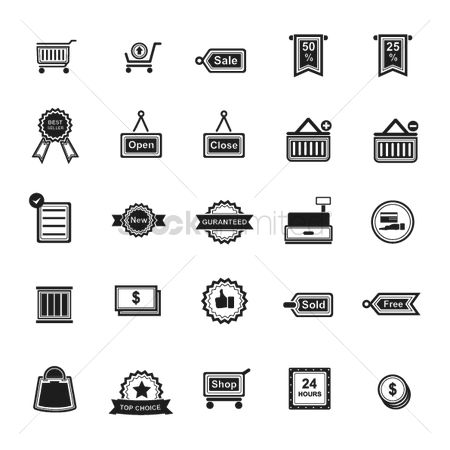 Sold : Set of shopping icons