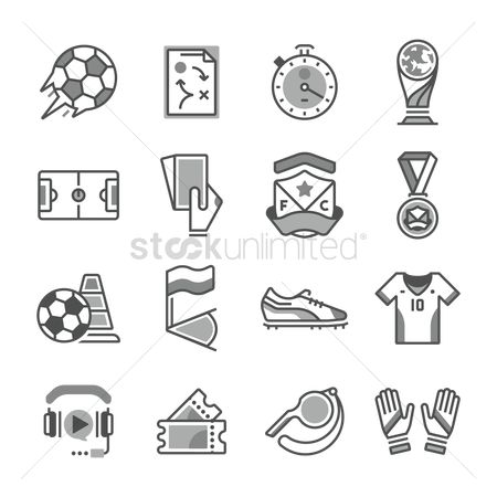 Whistle : Set of soccer icons
