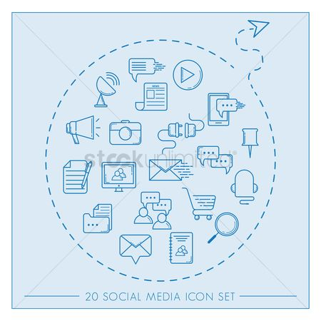 Icons news : Set of social media icons