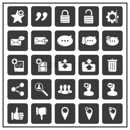 Email : Set of social media icons