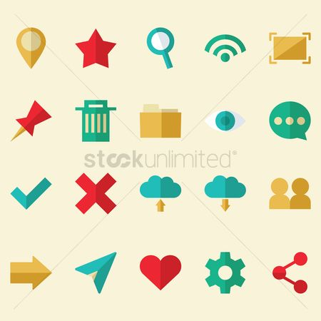 Favourites : Set of social media icons