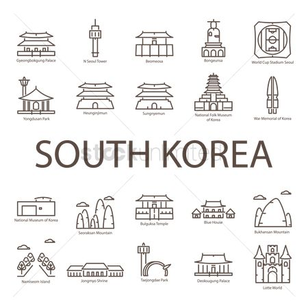 Recreation : Set of south korea landmark icons
