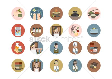 Health : Set of spa icons