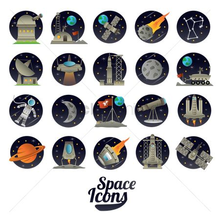 Spaceships : Set of space icons