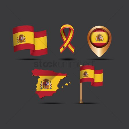 Tricolored : Set of spain flag icons