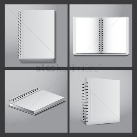 Notebooks : Set of spiral notebooks icons