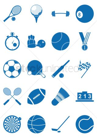 Shuttlecock : Set of sports icons