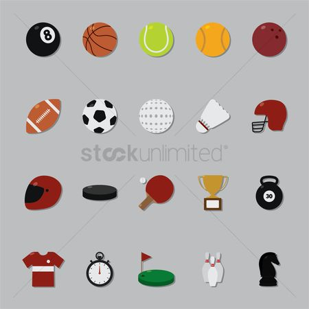 Tennis ball : Set of sports icons