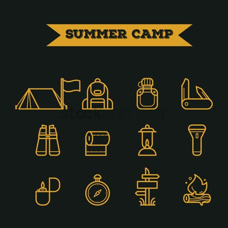 Linear : Set of summer camp icons