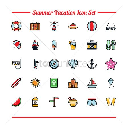 Wooden sign : Set of summer icons