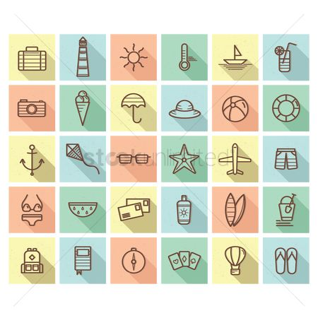 Cameras : Set of summer icons