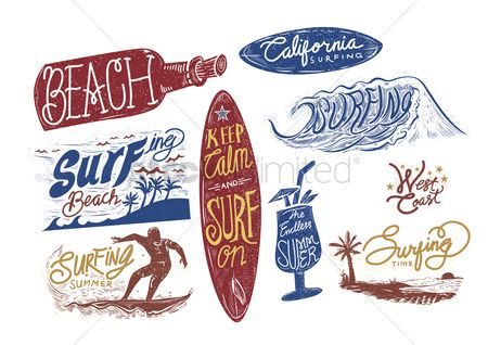Time : Set of surfing beach typographies