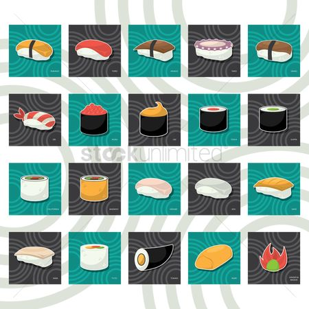 Japanese cuisines : Set of sushi