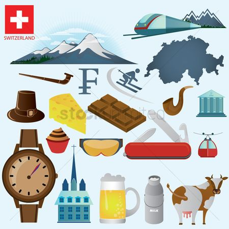 Smoking pipe : Set of switzerland icons