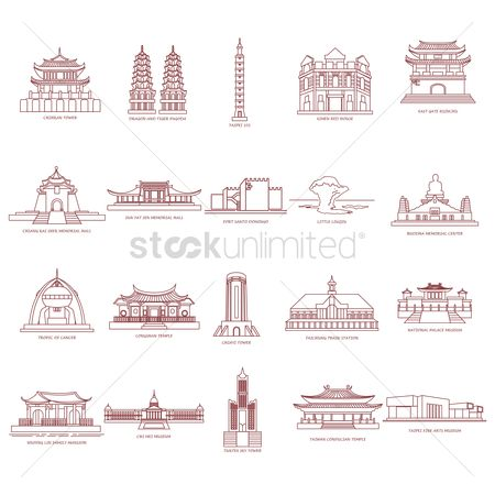 East : Set of taiwan destinations icons