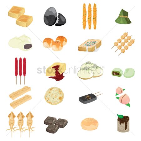 Flavors : Set of taiwanese food icons