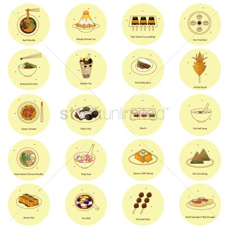 Flavor : Set of taiwanese food icons