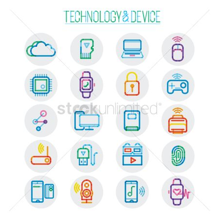 Notification : Set of technology and device icon