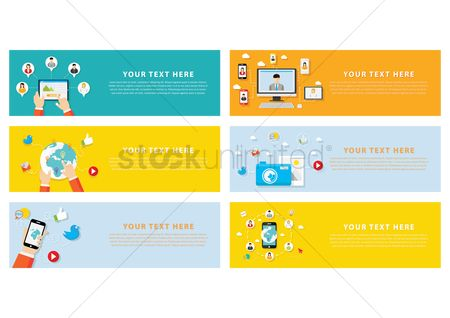 Copy spaces : Set of technology banners
