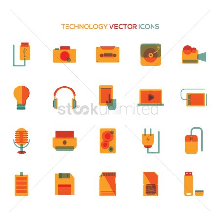 Pendrive : Set of technology icons