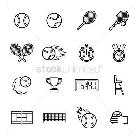Racket : Set of tennis icons