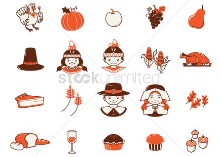 Slice : Set of thanksgiving icons