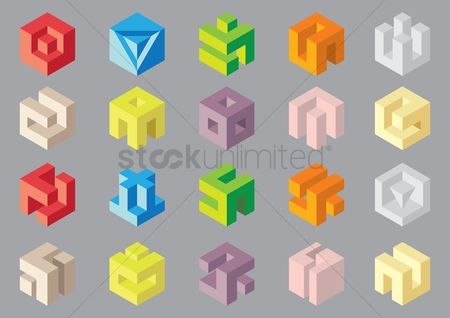 Shapes : Set of three dimensional cube