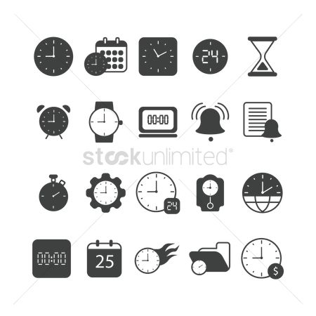 Minute : Set of time concept icons