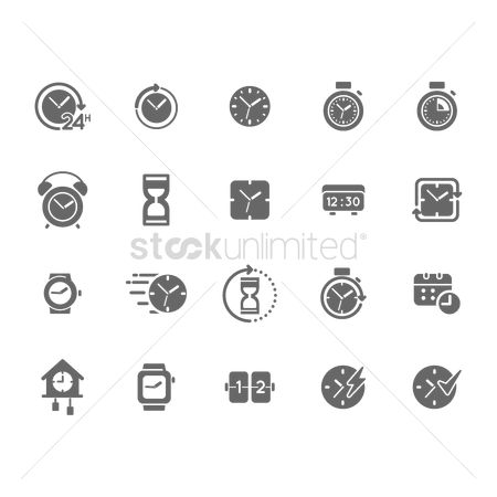 Charging icon : Set of time icons